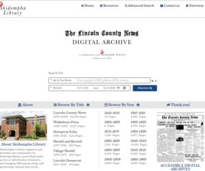 A screenshot of the homepage for The Lincoln County News digital archive, hosted by Skidompha Library.