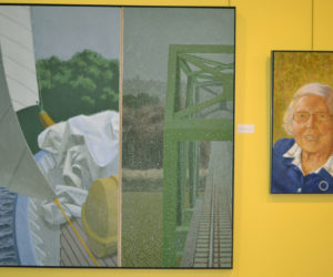 """Winslow Myers' paintings """"Passages 22"""" (left) and """"Portrait of Julia"""" are part of his current exhibit on the walls of the Central Lincoln County YMCA in Damariscotta, running through Dec. 22. (Christine LaPado-Breglia photo)"""