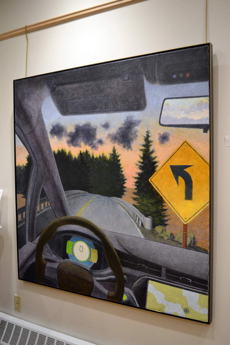 """""""Carscape 2,"""" a large painting by Bristol artist Winslow Myers in his current show at the CLC Y. (Christine LaPado-Breglia photo)"""