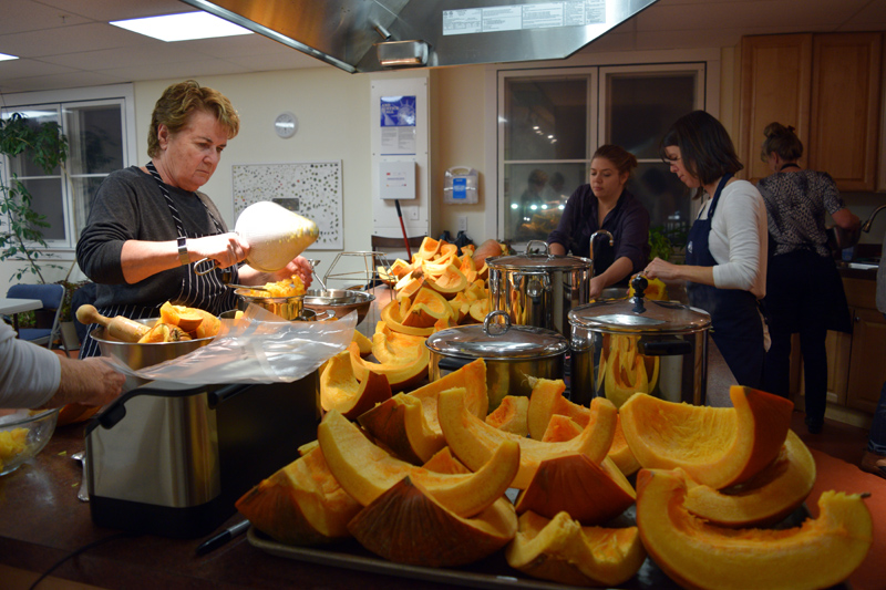 Lincoln County Gleaners process pumpkins for distribution. (Jessica Clifford photo)