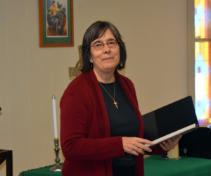 The Rev. Nancy Duncan, pastor of Waldoboro's Broad Bay Church, thanks all those who made phase one of the church's renovation possible during a ceremony Friday, Nov. 8. (Alexander Violo photo)