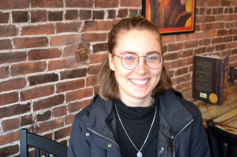 Waldoboro native Hillia Aho, who is a graduate student in New York University's prestigious Tisch School of the Arts filmmaking program, relaxes at a downtown Damariscotta cafe. (Christine LaPado-Breglia photo)