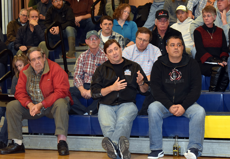 Maine Senate President Troy Jackson, D-Allagash, talks about how the Legislature can advocate for lobstermen with federal regulators during a meeting at Medomak Middle School in Waldoboro on Tuesday, Nov. 5. (Alexander Violo photo)