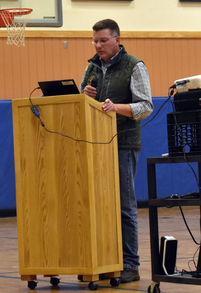 Maine Department of Marine Resources Commissioner Patrick Keliher speaks at Medomak Middle School in Waldoboro on Tuesday, Nov. 5. (Alexander Violo photo)