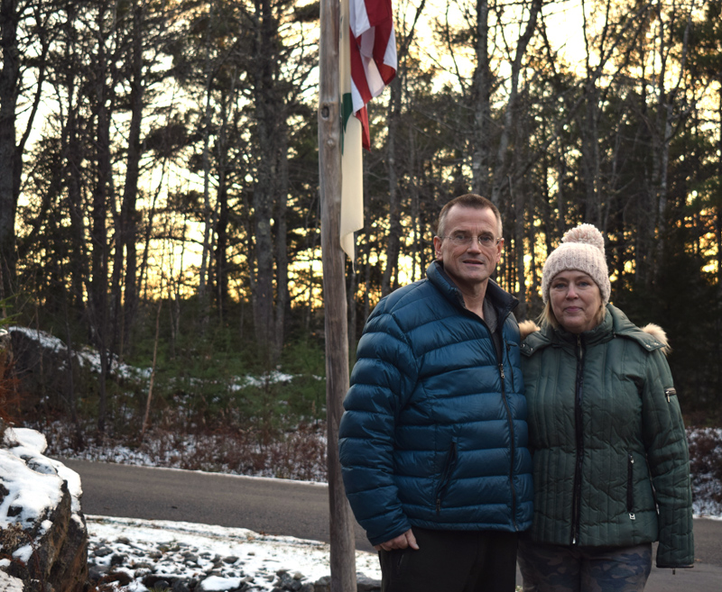 Richard and Susan Kubler stand outside their home in Wiscasset on Friday, Nov. 15. Richard, a member of the Hackensack Fire Department in New Jersey, has stage 4 liver cancer, likely a result of exposure to toxic chemicals at ground zero after the 9/11 terrorist attacks. (Evan Houk photo)