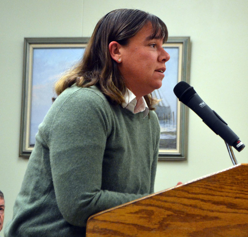 Dr. Holly Noble, a veterinarian, addresses the Wiscasset Planning Board on Monday, Nov. 25. The board approved Noble's plan to open a veterinary hospital in the former Coastal Veterinary Care building. (Charlotte Boynton photo)