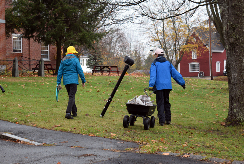Volunteers walk across the courthouse lawn with a wagon to plant daffodil bulbs. (Jessica Clifford photo)
