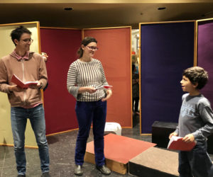 """Allison Eddyblouin and Mike Lee laugh with Davis Awamleh in a scene from the """"The Best Christmas Pageant Ever."""""""