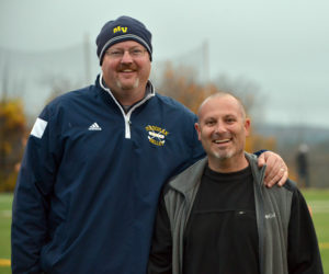 Although rivals in the playing arena, athletic directors Matt Lash (left), of Medomak Valley High School in Waldoboro, and K.J. Anastasio, of Lincoln Academy in Newcastle, are generous in sharing their facilities with each other for the betterment of both schools. (Paula Roberts photo)