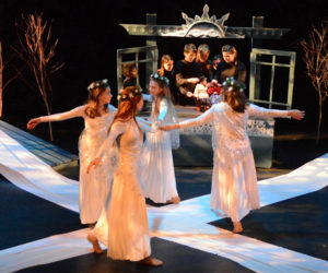 """Midcoast middle school students perform in Heartwood Regional Theater Company's winter drama adventure, """"The Snow Maiden,"""" earlier this year. (Photo courtesy Jenny Mayher)"""