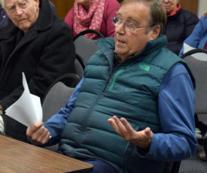 Medical marijuana caregiver David Page, of Damariscotta, addresses the Damariscotta Board of Selectmen during a public hearing about permit fees for new marijuana establishments Wednesday, Dec. 4. (Evan Houk photo)