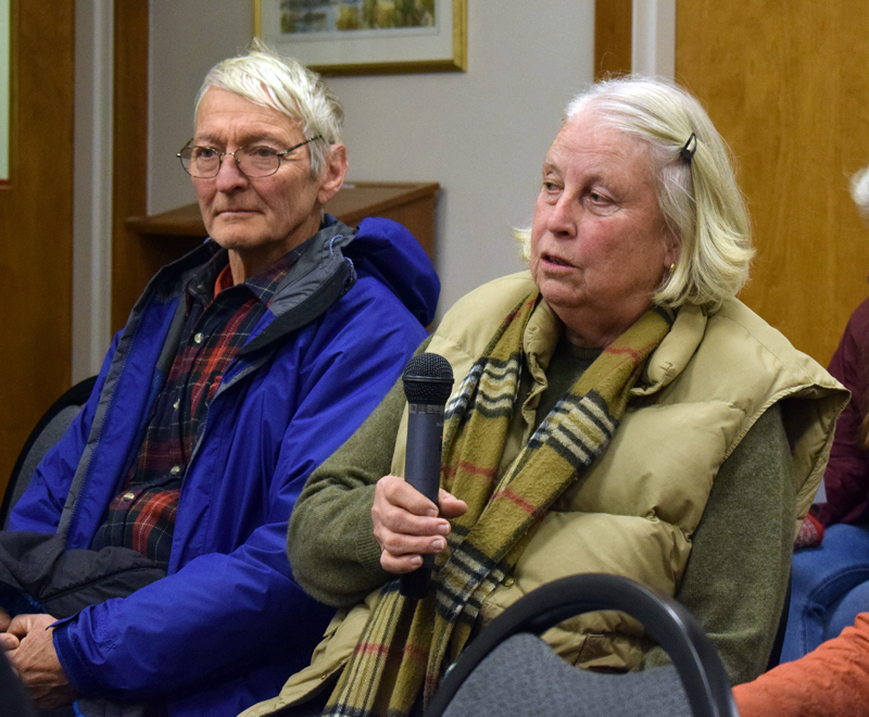 Paul and Cynthia Sherman, of Pleasant Street, bring their concerns about the amount of salt used on the road to the Damariscotta Board of Selectmen on Wednesday, Dec. 18. (Evan Houk photo)