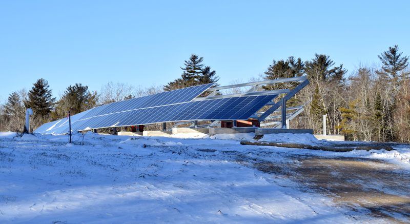 Construction is underway on a municipal solar array on the former landfill at the corner of Biscay and Standpipe roads in Damariscotta, Friday, Dec. 20. (Evan Houk photo)