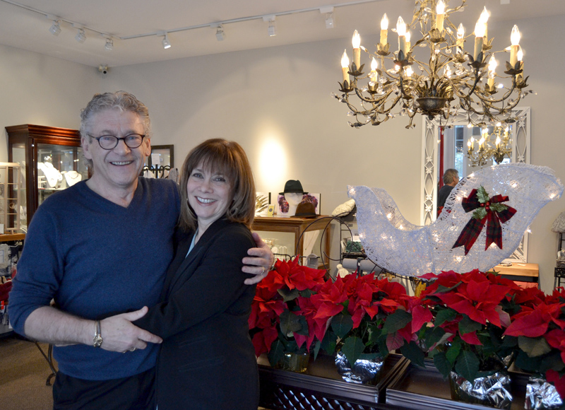 Stars Fine Jewelry owners John and Frieda Hanlon in their downtown Damariscotta shop Tuesday, Dec. 17. The business is celebrating its 25th anniversary this year. (Maia Zewert photo)