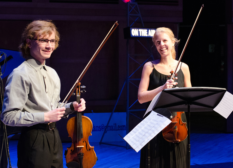 "Joshua Rosenthal, a 16-year-old violinist who lives in Damariscotta, performs a duet with Josie Davis, a ""From the Top"" alumna originally from Waldoboro. The performance was recorded for the National Public Radio program, ""From the Top,"" at Merrill Auditorium in Portland on Nov. 20. The episode will air locally on Maine Public Classical, channel 96.7 FM, at 5 p.m. on Saturday, Dec. 21 and will be available to stream at fromthetop.org on Dec. 16. (Photo courtesy ""From the Top"")"