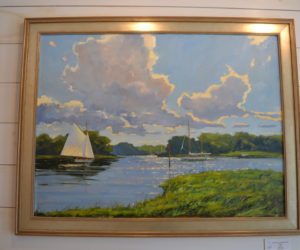 """""""Clouds over the Kennebunk,"""" a 30-by-40-inch oil painting by Brad Betts. (Christine LaPado-Breglia photo)"""