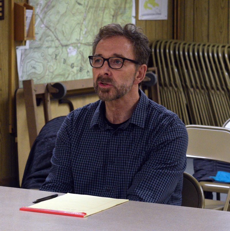 David Turin meets with the Edgecomb Planning Board in the basement of the town hall Thursday, Dec. 5. A chef and proprietor of three restaurants, Turin plans to buy the Water's Edge Banquet & Function Facility, on Davis Island, and open another. (Jessica Clifford photo)