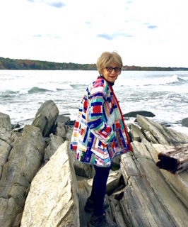 Textile artist Jody Halliday wears one of her creations. (Photo courtesy Jody Halliday)