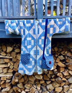 "A blue-toned quilt jacket and a ""Connie"" bag created by Jody Halliday. (Photo courtesy Jody Halliday)"