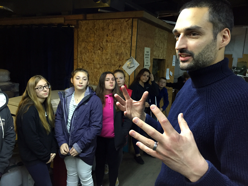 J.W. Oliver, editor of The Lincoln County News, talks about community journalism to a group of eighth graders from Great Salt Bay Community School.