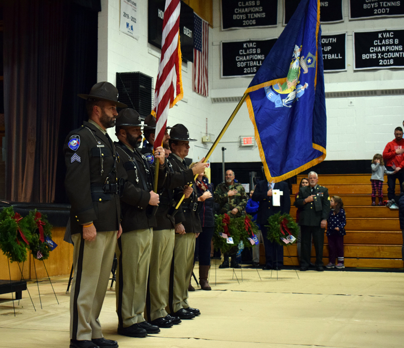 The Lincoln County Sheriff's Office color guard helps open the ceremony for the Wreaths Across America convoy at Lincoln Academy on Sunday, Dec. 8. (Evan Houk photo)