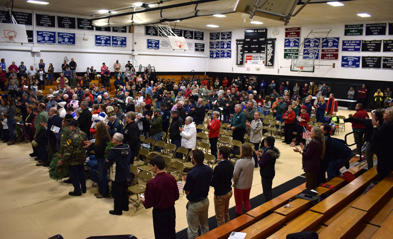 Several hundred people attend a Wreaths Across America ceremony at Lincoln Academy in Newcastle on Sunday, Dec. 8. (Evan Houk photo)