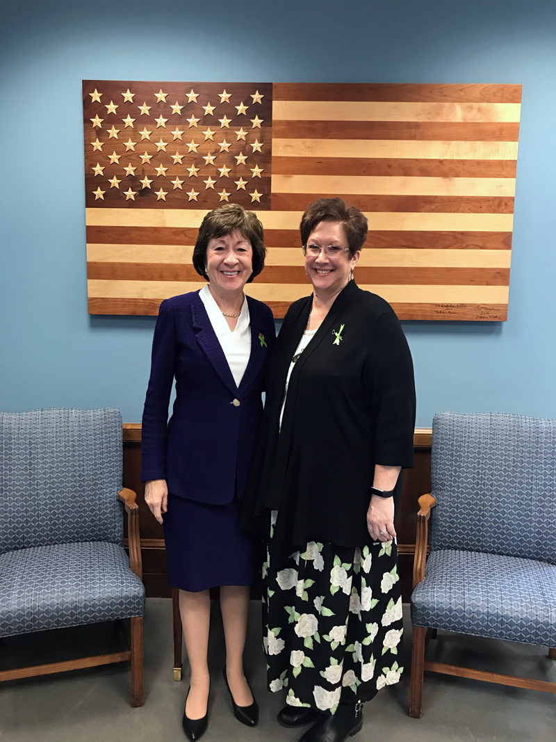 Paula Jackson Jones, of Nobleboro, poses for a photo with U.S. Sen. Susan Collins in her Washington, D.C. office in October. Jones was in D.C. to support the Kay Hagan Tick Act. (Photo courtesy Paula Jackson Jones)