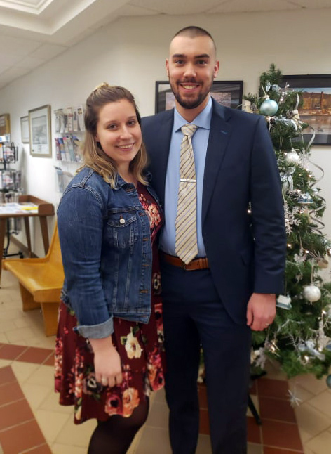 Nicole and Chase Bosse attend Chase Bosse's swearing-in as the newest officer of the Waldoboro Police Department. (Photo courtesy Waldoboro town office)