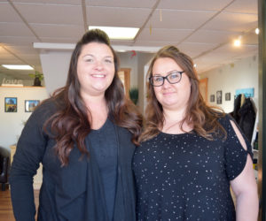 Tiffany Dauphin (left) and Chantel Jacobs co-own Coastal Maine Cuts, a new barbershop in dowtown Wiscasset. (Jessica Clifford photo)