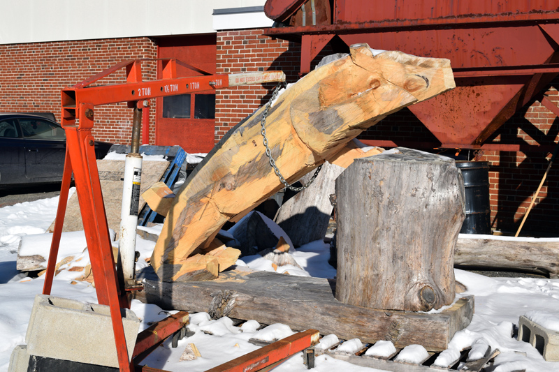 The Wolverine sculpture in progress earlier this month. When complete, it will show a wolverine with one paw on a boulder, as if it is climbing over it. (Jessica Clifford photo)