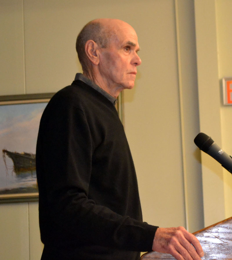 Stephen Barndollar, a partner in the development group that owns the former Wiscasset Primary School, presents a proposal to redevelop the property to the Wiscasset Planning Board on Monday, Dec. 9. (Charlotte Boynton photo)