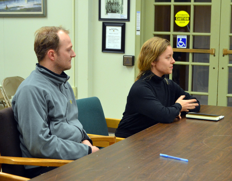 Zack Goodwin (left) and Chandler Sowden present their application to open a wine bar to the Wiscasset Planning Board on Monday, Dec. 23. (Charlotte Boynton photo)