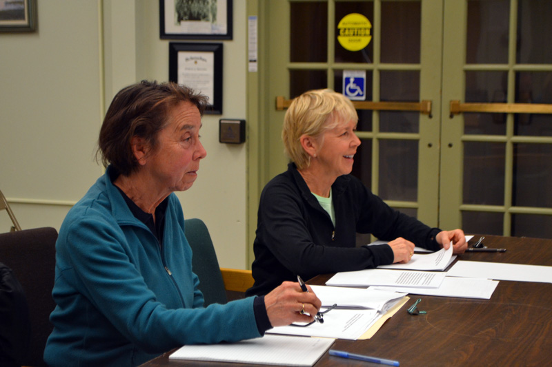 Chewonki Campground owners Pamela Brackett (left) and Ann Beck present their plans to build a garage and three cottages to the Wiscasset Planning Board on Monday, Dec. 23. (Charlotte Boynton photo)