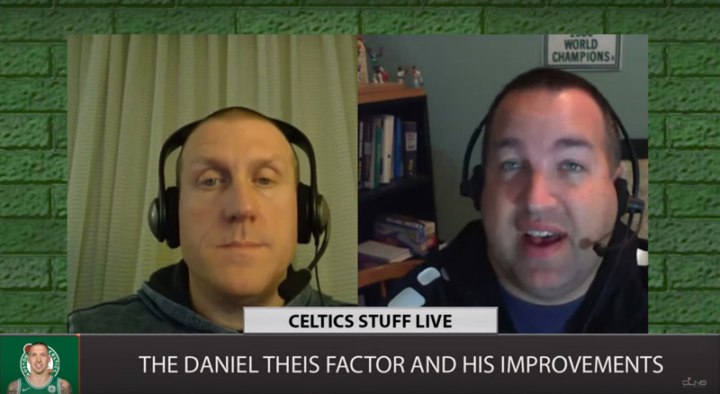 "Justin Poulin (left) and Jon Duke discuss the improvement of Boston Celtics center Daniel Theis in a screen grab from a ""Celtics Stuff Live"" video. ""Celtics Stuff Live"" is the first and longest-running podcast about the team."