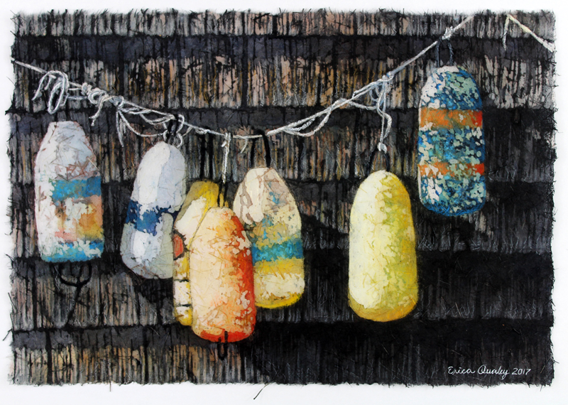 """A watercolor batik piece by Erica Qualey, """"Retired Buoys."""""""