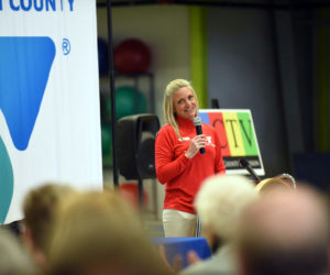 Central Lincoln County YMCA CEO Meagan Hamblett speaks at the beginning of a grand reopening ceremony April 29, 2018. Hamblett will resign effective Jan. 31 to start a new position with the YMCA Alliances of Maine and New Hampshire/Vermont. (Jessica Picard photo, LCN file)