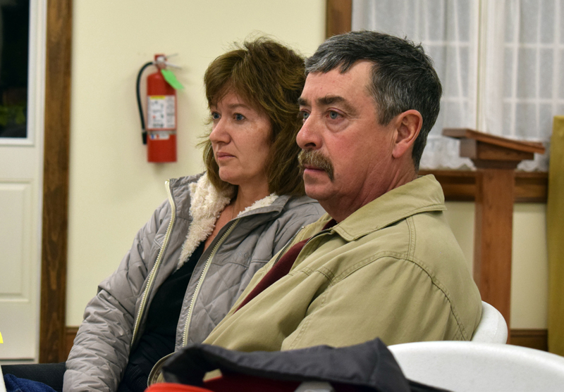 Forest Hill Cemetery caretakers Sherry and Dan Moody meet with the Dresden Board of Selectmen to discuss the transfer of the cemetery to the town. (Evan Houk photo)