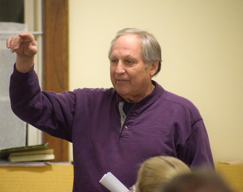 Peter Walsh speaks in favor of Dresden's proposal to buy 540 Gardiner Road during a special town meeting at Pownalborough Hall on Wednesday, Jan. 15. (Jessica Clifford photo)