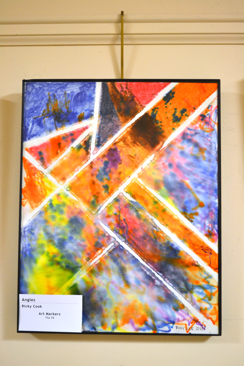 """Ricky Cook's striking art-marker piece """"Angles"""" graces the current """"Art from the Heart"""" show in the hall gallery at LincolnHealth's Miles Campus. (Christine LaPado-Breglia photo)"""
