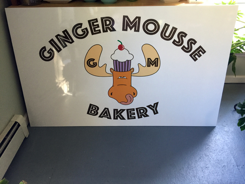 The sign for Ginger Mousse Bakery, which will open Monday, Jan. 20. (Photo courtesy Karen Kelly)