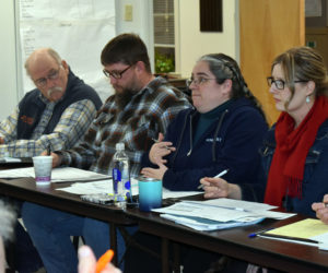 From left: Nobleboro Selectman Richard Powell and Nobleboro School Committee members Michael Ward, Angela White, and Shawna Kurr attend a meeting at the town office Thursday, Jan. 23. (Alexander Violo photo)