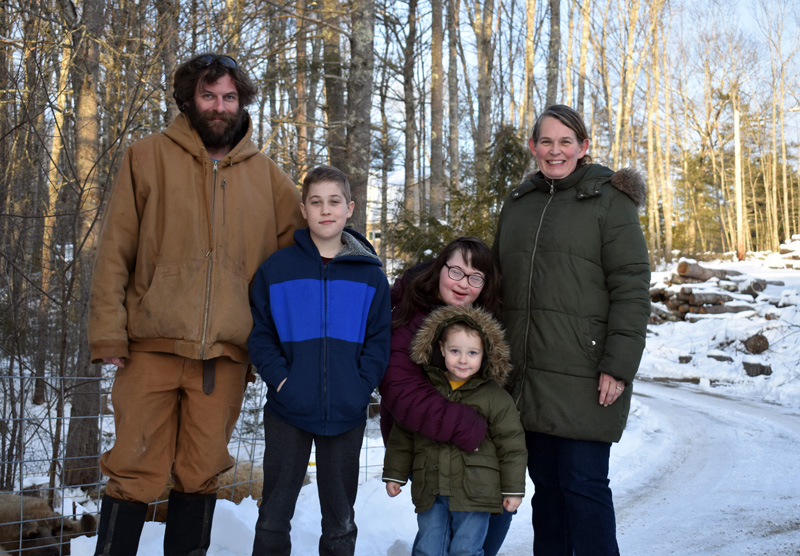 The Sturtevant family at their Switchback Farm in Nobleboro. From left: Matthew, Elijah, Harper, Bronson, and Maisie. (Alexander Violo photo)