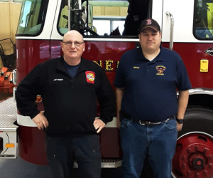 "Andy Kennedy (left) and Richard ""Moose"" Genthner are Nobleboro's new deputy fire chief and fire chief, respectively. (Alexander Violo photo)"