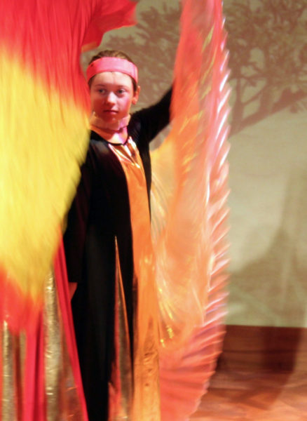 Scarlet Pope stars as the Firebird, in Heartwood Regional Theater Company's youth production this weekend in the Parker B. Poe Theater at Lincoln Academy. (Photo courtesy Griff Braley)