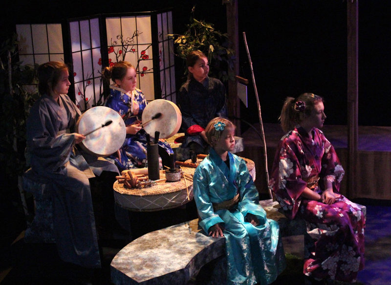 Musicians and narrators keep the traditional Japanese theater-style at Heartwood Regional Theater Company's production this weekend: (back row from left) Lilah Drewes, Eve Allen, and Caroline Allan; and (front row from left) Josie Branson and Ashley Nixon. Missing from the photo is Violet Holbrook. (Photo courtesy Griff Braley)