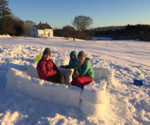 Coastal Rivers Conservation Trust's Salt Bay Farm in Damariscotta is ideal for winter activities like cross-country skiing, sledding, snowshoeing, and building snow forts. (Photo courtesy Katie LeBel)