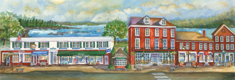 Kathleen Horst's watercolor painting of downtown Damariscotta.