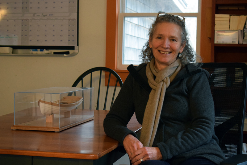 Sonia Turanski, the new executive director of The Carpenter's Boat Shop, in her office on Feb. 4. Turanski plans to adapt the boat shop for the future while remaining true to its traditions. (Evan Houk photo)