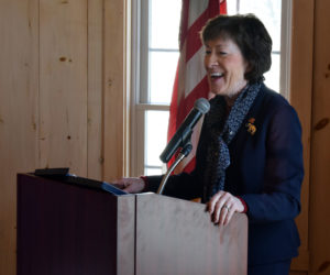 U.S. Sen. Susan Collins speaks during the Lincoln County Republican Committee's annual Lincoln Day event at The 1812 Farm in Bristol Mills on Saturday, Feb. 22. (Evan Houk photo)