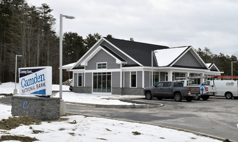 The future home of Camden National Bank's Damariscotta branch, in the new Camden National Plaza at 435 Main St., Tuesday, Feb. 18. The new location will open Monday, March 2. (Evan Houk photo)